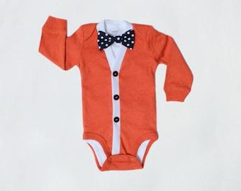Baby Cardigan and Bow Tie Set - Trendy Baby Boy - Solid Fall Orange - Cardigan Onesie