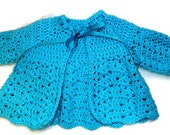 Baby Girl Crochet Handmade Blue Green Scalloped Sweater with Bow, Easter, Christening, Spring, Baptism