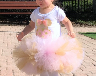 Minnie Mouse Inspired Pink & Gold Birthday Cake Tutu Dress Infant Toddlers Girls Long Sleeves Available