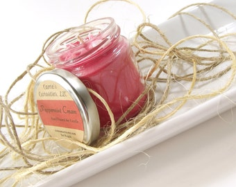 Peppermint Cream scented Soy Candle, All Natural Candle, Handmade Candle, Christmas Candle, Hostess Gifts, Jar Candle, 4 Ounce