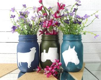 Painted Jars, Mason Jar Decor, Farmhouse Decor, Farm Decorations, Country Home Decor, Table Centerpieces, Rustic Mason Jars