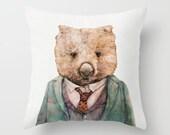 Wombat THROW PILLOW, Cushion Cover, Decorative Pillow, Animal Pillow, Animal Cushion, Nursery Decor, Australian Animal, Wombat Cushion