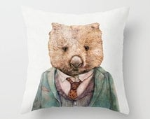 Wombat Throw Pillow, Cushion Cover, Decorative Pillow, Animal Pillow, Animal Cushion, Nursery Decor, Australian Animal, Wombat Cushion