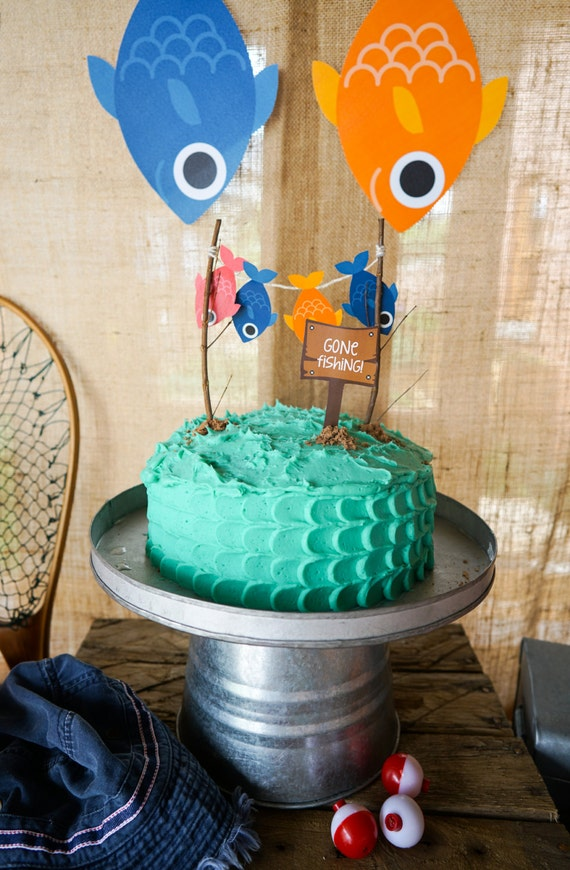 Gone Fishing Party Cake Topper O Fish Ally Party Cake Topper