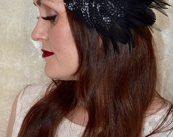 1920s Style Black Feather Sequin Flower Flapper Hair Band Headband Charleston Great Gatsby Downton