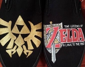Hand-painted Zelda on Vans shoes