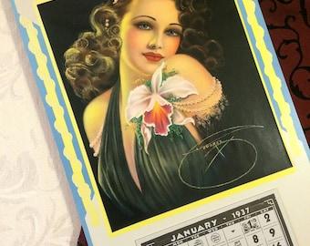 Gorgeous 1937 Calendar, Art Deco Goddess, Billy Devorss Print, Large Wall Calendar, 1930s, Pin Up Girl, Femme Fatale, Pretty Beautiful Lady