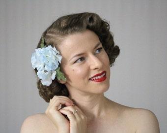 "Blue Flower Fascinator, Floral Hair Accessory, Light Blue Flower Clip, Wedding Hair Bride Headpiece Vintage 1950s - ""Wink Those Baby Blues"""