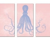 Octopus Triptych Posters, Serenity Blue and Rose Quartz Nautical Art, Large Art, Wall Art for Girls Room, Nursery, Pantone Color of the Year
