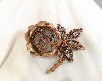 Steampunk Flower Brooch