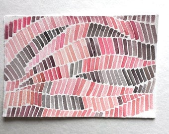 """Pink Gray Geometric painting, Watercolor painting, Minimalist Art, Small watercolours 7,5""""x 11""""/ Abstract painting, Modern Home decor"""