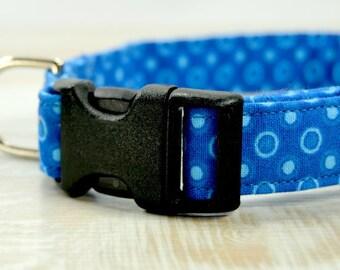 Blue Dog Collar, Blue  Teal Circles Collar, Fabric Dog Collar, Girl Dog Collar, Boy Dog Collar, Large collar, Small Collar, Dog Accessories