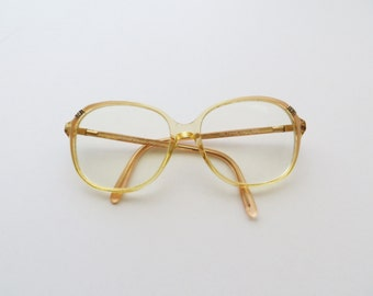 80s Steroflex Retro Frame Italy Eyewear Pearly Beige Pale Yellow with Jewel Accent