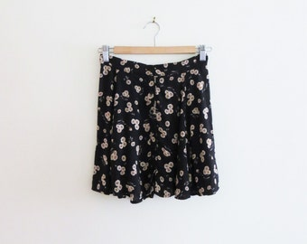 90s Black Floral Skirt Button Down Beige Flower Print Women's Size XS to Small 2 to 4