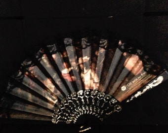 Picture fan-cooling accessory- museum memory- hot weather-spanish style- black brown red- for her- black lace- woman gift- for mother