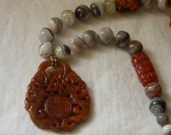 Jade pendant w Botswana agate & carved carnelian necklace , beaded jewelry , Boxwood Netsuke bunny rabbit , unusual rust color jade jewelry