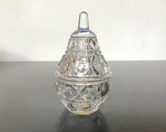 vintage crystal pear ring holder dish cane design Annahutte W. Germany