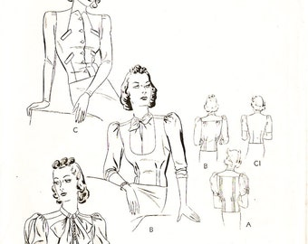 Butterick 8139 Misses' Vintage 1930s Blouses in 3 Styles Sewing Pattern