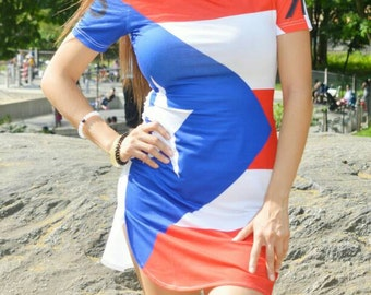 Puerto Rico Flag Shirt Dress
