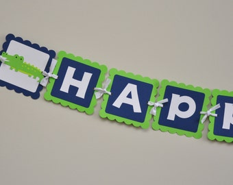 Alligator Banner, Preppy Alligator Birthday Banner, Alligator Party