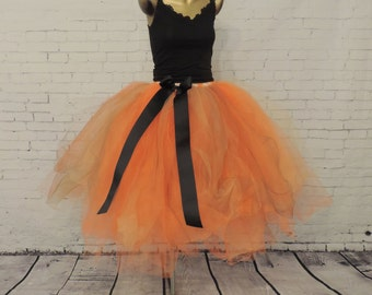 Adult tutu tea length halloween tutu orange tutu skirt tulle skirt tutu for women witch pumpkin costume halloween costume womens skirt