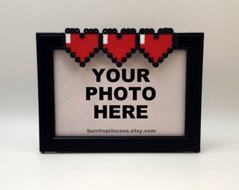 Picture Frame - Simple Heart Meter Picture Frame - Retro Gaming - 8 Bit Decoration - Nerdy Wedding Gift