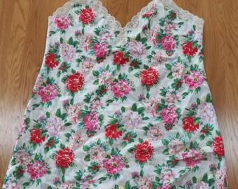 Vintage VICTORIA'S SECRET size L/Large~FLORAL Nightie Gown Sexy Lace~Beautiful!