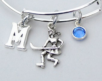 Field Hockey Bangle, Field Hockey Charm Bracelet, Personalized Initial, Monogram, Birthstone / Team Color, Gift For Her, Team Gift ,