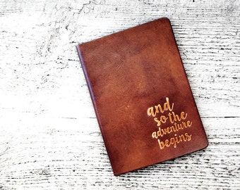 Personalized Passport Cover Travel Wallet, And So The Adventure Begins Passport Holder, Genuine Leather Wanderlust Travel Gift - Graduation