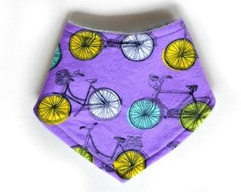 Purple Bicycle Pearl-Snap Baby Bib