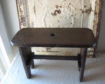 Primitive Finger Hole Bench, Antique Handmade Stool