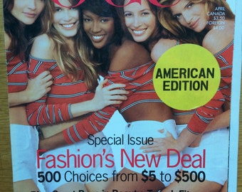 Vintage Vogue Magazine 1990s USA American April 1993 Grunge Supermodels