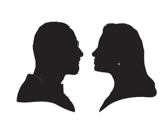 Wedding logo, bride and groom silhouette, Custom Silhouette, Couple Silhouette, Digital Download, custom portrait,