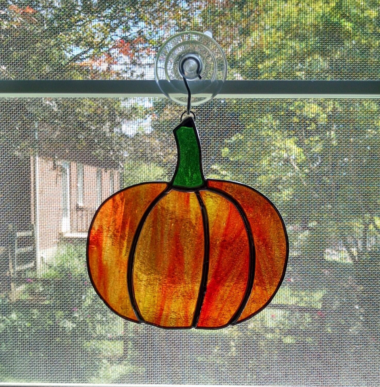 Stained Glass Pumpkin Suncatcher Autumn By Stainedglassyourway