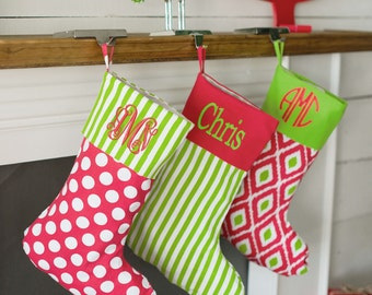 Personalized Christmas Stockings, Embroidered Christmas Stockings, Red and Lime Christmas Stockings, Monogrammed Christmas Stockings,