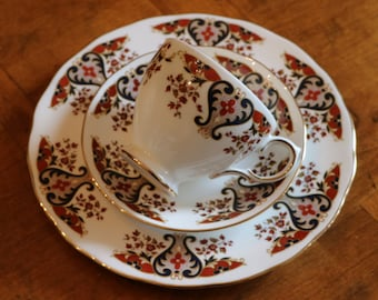 Colclough China English Fine Bone China Trio With Salad Plate, Teacup and Saucer, Gold Trim China Trio, English China Trio