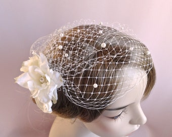 Bridal birdcage veil with flowers, bridal headpiece,  wedding bird cage veil with pearls,  wedding hair accessory Style 810