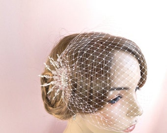 Bridal birdcage bandeau veil, set with crystal Art Deco headpiece,  wedding bandeau veil in many colors Style 600