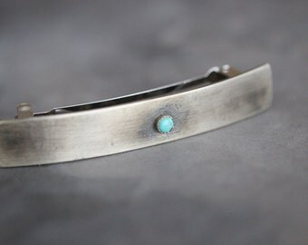 French Barrette, Sterling Silver, Kingman Turquoise, 4mm Turquoise, Brushed Patina, Hair Clip, Large, Hair Jewelry, Boho, Accessories