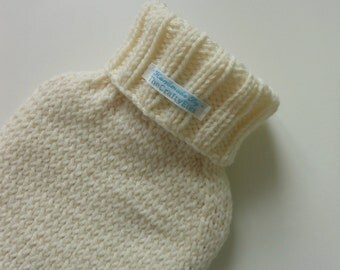 TheCraftyElks: Hand Knitted Hot Water Bottle Cover (Cosy) in Cream - Wool Blend