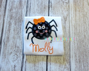 Cute Girly Spider Appliqued Shirt - Embroidered, Personalized, Monogram, Spider, Halloween, Girls Spider Shirt, Spider with Bow, Fall
