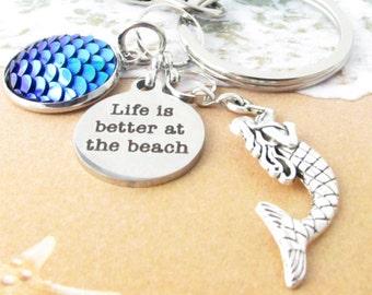 Mermaid Keychain, Mermaid Gift, Better at the Beach Keychain, Fish Scale Keychain, Ocean Keyring, Car Accessories, Beach Wedding Favor