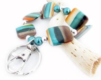 Keychain Bracelet, Elastic Keychain, Shell Wrist Keychain, Hands Free Key Ring, Wrist Lanyard, Beaded Lanyard