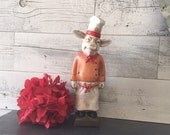 Pig Chef Figurine - Rustic Farmhouse Pig Decor - Kitchen Pig Decor - French Chef - Chefs Apron and Hat - Shabby Farmhouse French Country