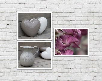 Set of 3 Photographs 8x10 Bathroom Decor, Bathroom Art Set, grey white pink Bathroom Decor, Shabby Chic Bathroom, Bath flower Wall Decor Set
