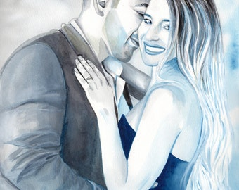 Special GIFT for HUSBAND, wedding ANNIVERSARY, watercolor couple custom portrait painting, gift for him, gift for men, couples portrait
