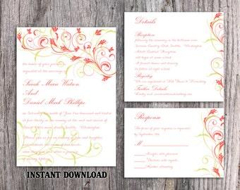 Wedding Invitation Template Download Printable Wedding Invitation Floral Wedding Invitation Coral Invitation Editable Green Invite DIY DG65