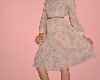 Vintage 70s Pale Dusty Pink Rose Floral Watercolor Pleated Semi Sheer Midi Dress