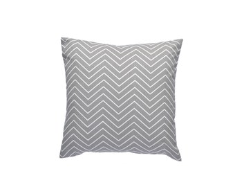 "Chevron Pillow Cover, Gray and White Throw Pillow, Decorative Pillow Cover, 20"" x 20"""
