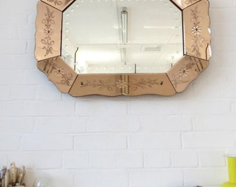 Vintage Art Deco Bevelled Edge Wall Mirror Colored Glass Extra Large